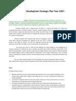 Child Health and Development Strategic Plan Year 2001