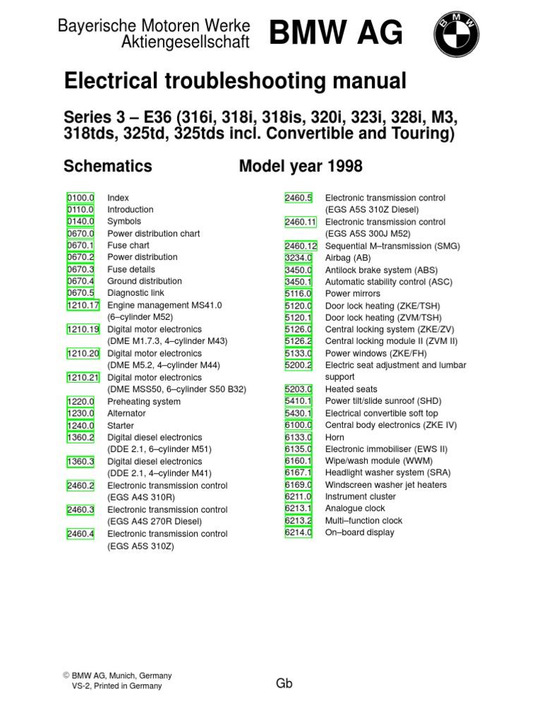 1998 bmw e36 electrical wiring diagram vehicle parts mechanical rh scribd com BMW E46 Wiring Diagrams BMW 2002 Wiring Diagram PDF