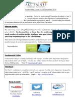 Maths Newsletter 9 - 12th November 2014
