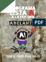 Programa Lista A a La FEP - 2015 - Adelante!!