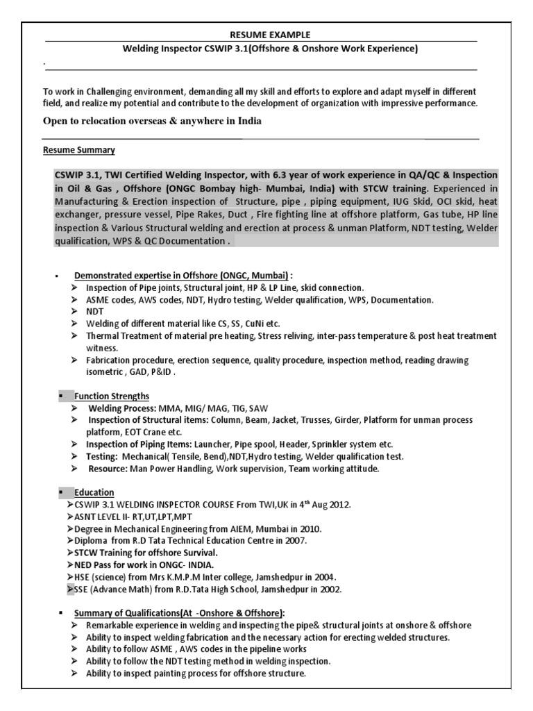 Resume Sample Metal Fabrication Welding