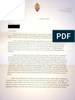 Letter from Seattle Archbishop J. Peter Sartain to a parishioner about David Jaeger