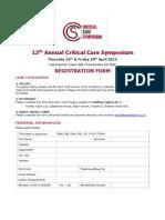 Critical Care Symposium Application Form
