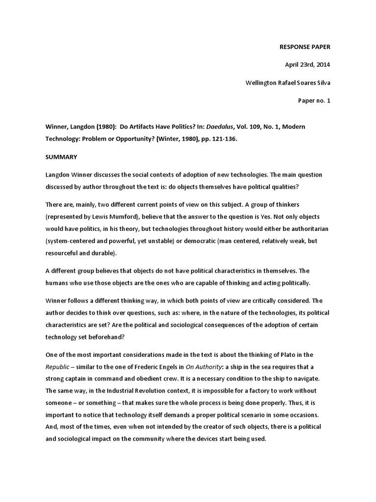 Langdon Winner, Do Artifacts Have Politics Essay Example