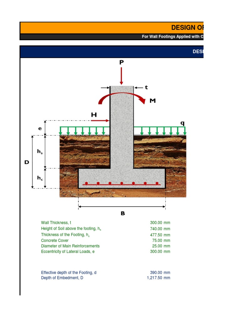 Wall Footing Design Xls : Design of wall footing strength materials concrete