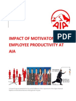 Impact f motivation on employee productivity at AIA