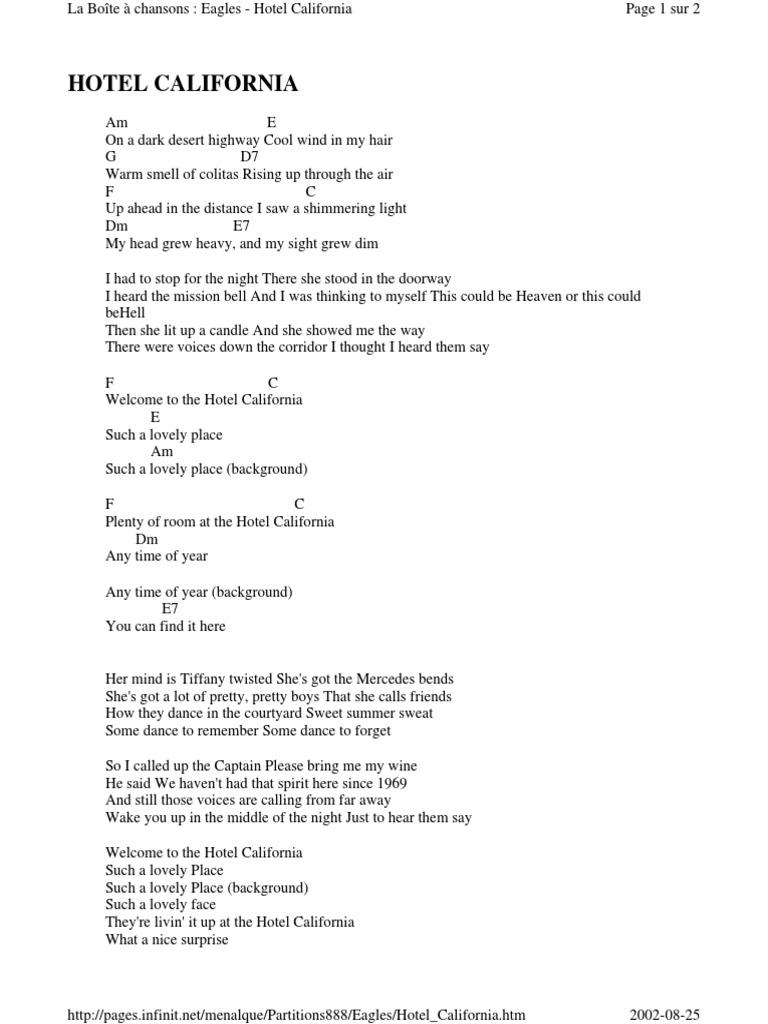Eagles Hotel California Guitar Chords and Lyrics