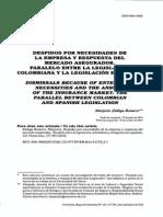 DESPIDOS POR NECESIDADES DE LA EMPRESA Y RESPUESTA DEL MERCADO ASEGURADOR. PARALELO ENTRE LA LEGISLACIÓN COLOMBIANA Y LA LEGISLACIÓN ESPAÑOLA