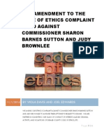 2nd Amendment to the Code of Ethics Complaint Filed Against Commissioner Sharon Barnes Sutton and Judy Brownlee