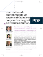 Alternativas de cumplimiento de responsabilidad social corporativa en gestión de recursos humanos