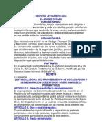 DECRETO LEY NUMERO 82-84 Ley Reguladora Para La Desmembracion