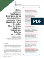 Hipertiroidismo. Concepto. Clasificación. Descripción de Los Principales Tipos Patogenia, Clínica y Diagnóstico. Crisis Tirotóxica. Hipertiroidismo Subclínico. Tratamiento. Criterios de Remisión