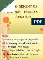 Arrangement of Periodic Table