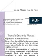 Transf. Massa - Difusão e Lei de Fick