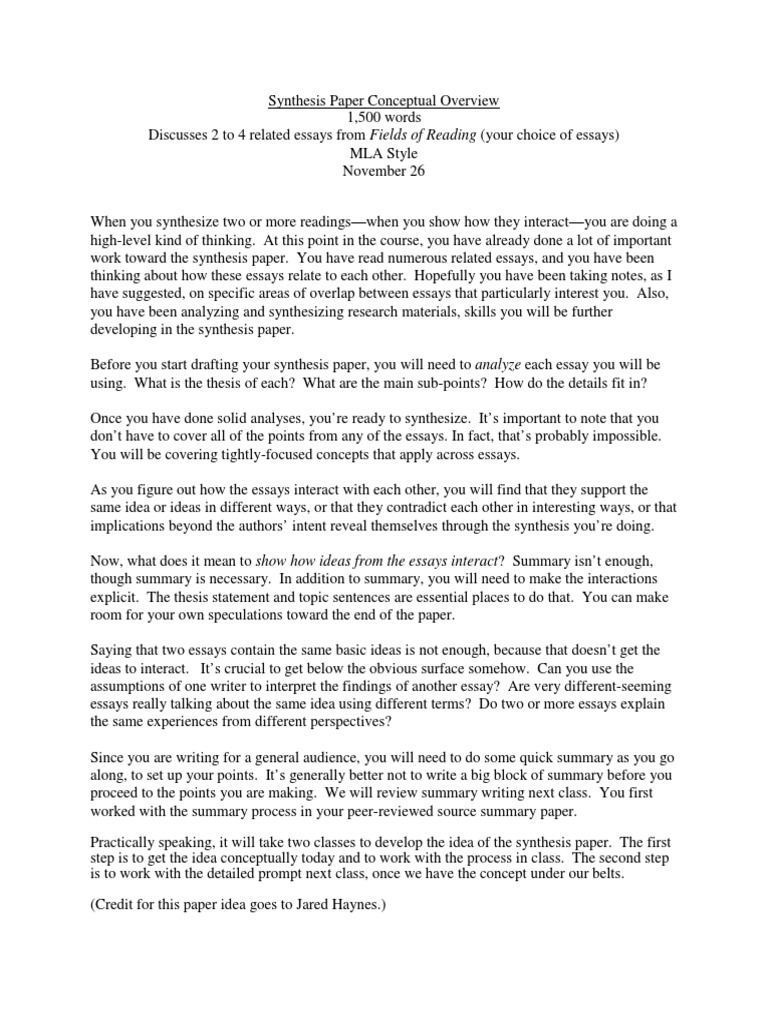 Sample Essay For High School Students Synthesis Essays Thesis V Synthesis  also Compare And Contrast Essay High School Vs College Different Ways To Write An Essay The Awakening Essay Topics  Types Of English Essays