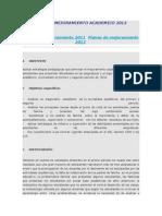 Plan de Mejoramiento Academico 2012