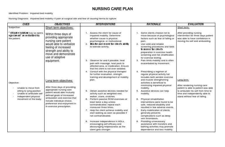 Nursing Care Plan   Physical Exercise   Nursing