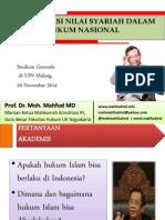 Mahfud MD - Revitalisasi Nilai-Nilai Hukum Islam Di Bumi NKRI