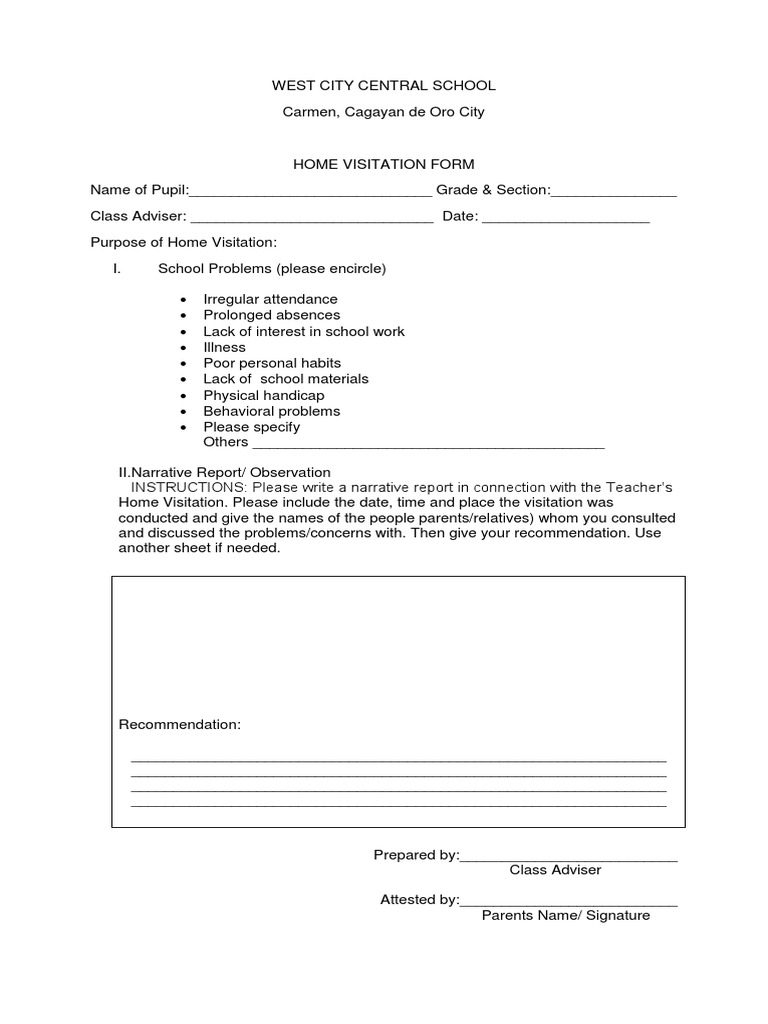 Home visitation form for Farcical other forms