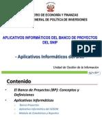 Aplicativos Informa BP SNIP Breve- BANCO DE PROYECTOS EN PERU. CONCPT  DEFINICIONES.
