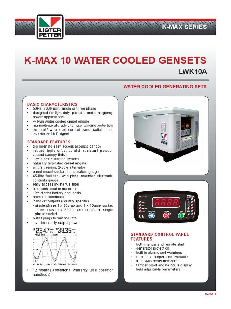 10717 K-Max 10 Gensets TDS   Power (Physics)   Mechanical