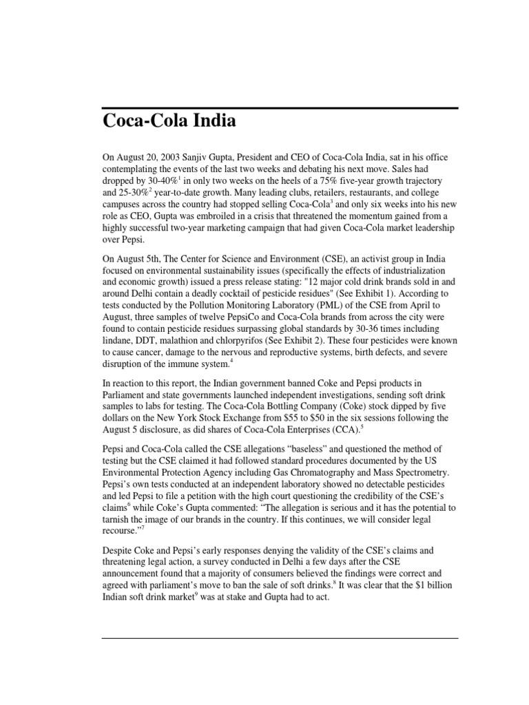 coke pesticide crisis