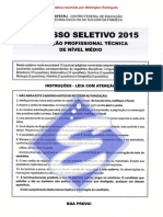Prova CEFET/RJ - 2015 Matemática Resolvida