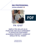 12107 Simple Pro Seller as is Purchase and Sale Agreement to Investor Purchaser Acquiring Property Leased by Single Retail Tenant[1]