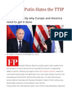 Vladimir Putin Hates the TTIP