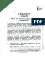Instructivo Nº 261 de Pago de Aguinaldo Gestión 2014 en Bolivia