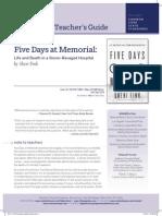Five Days at Memorial Teacher's Guide