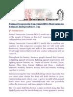 Burma Democratic Concern (BDC) Statement on Burma's Independence Day