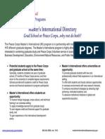 Peace Corps Masters International University Directory