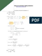 Discutir sistemas de ecuaciones según parámetros