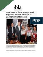 16-11-2014 Puebla on Line - RMV y Nuria Sanz Inauguran El Segundo Foro Mundial de La Gastronomía Mexicana
