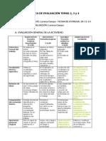 Rúbrica de evaluación TEMAS 2 3 y 4 Lorena Campo
