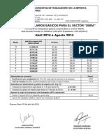 Escala Salarial Obra - Abril 2014 a Agosto 2014