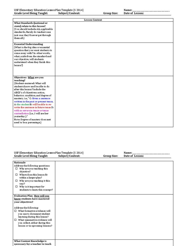 Usf Lesson Plan Template Lesson Lesson Plan
