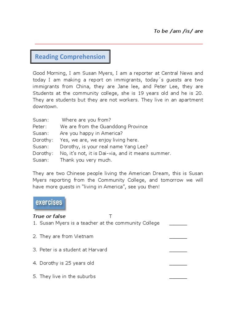 Reading Comprehension Verb To Be Reading comprehension college pdf