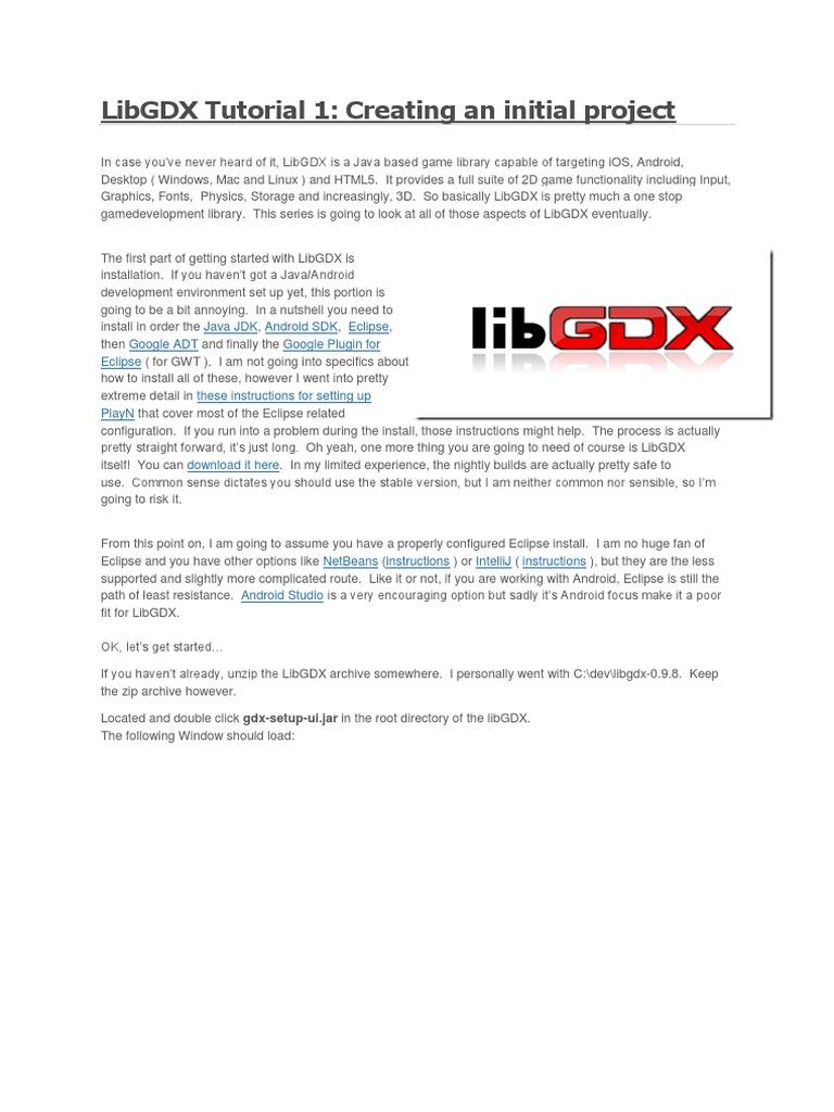 LibGDX Tutorial 1   Eclipse (Software)   Java (Programming Language)