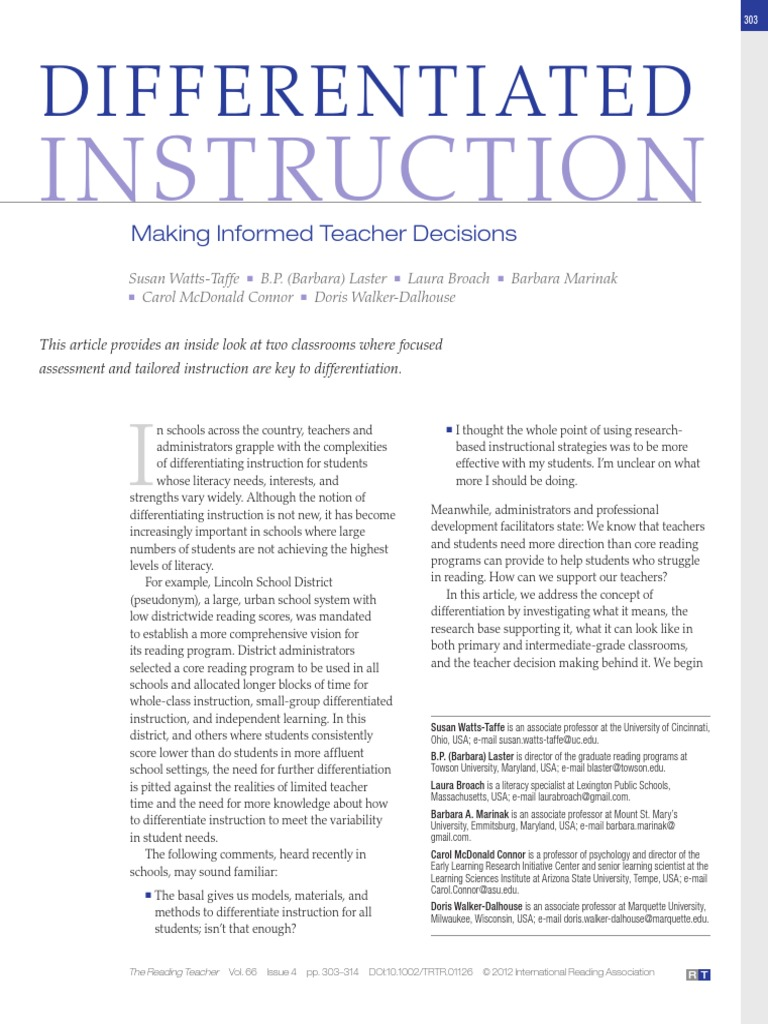 Trtr1126pdf Differentiated Instruction Reading Comprehension