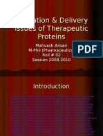 Formation & Delivery Issues of Therapeutic Proteins