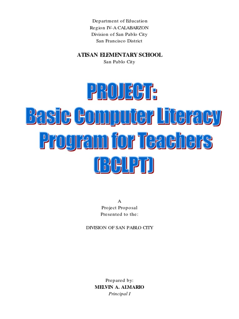 Project Proposal Computer Literacy Program Educational Technology