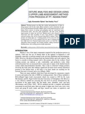 Working Posture Analysis And Design Using Rula Human Anatomy