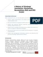 The Nature of Strategy Implementation Marketing, Finance Accounting, R&D and MIS Issues