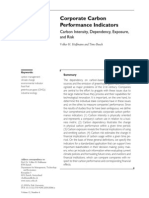 Corporate Carbon Performance Indicators Carbon Intensity, Dependency, Exposure, and Risk