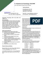 UT Dallas Syllabus for psy2317.501.08f taught by Nancy Juhn (njuhn)