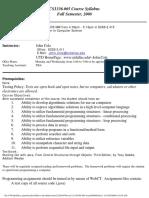 UT Dallas Syllabus for cs1336.005.08f taught by John Cole (jxc064000)