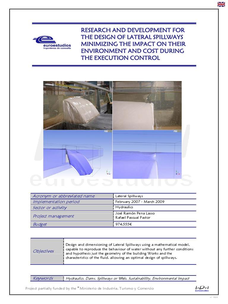 r u0026d lateral spillways euroestudios mathematical optimization