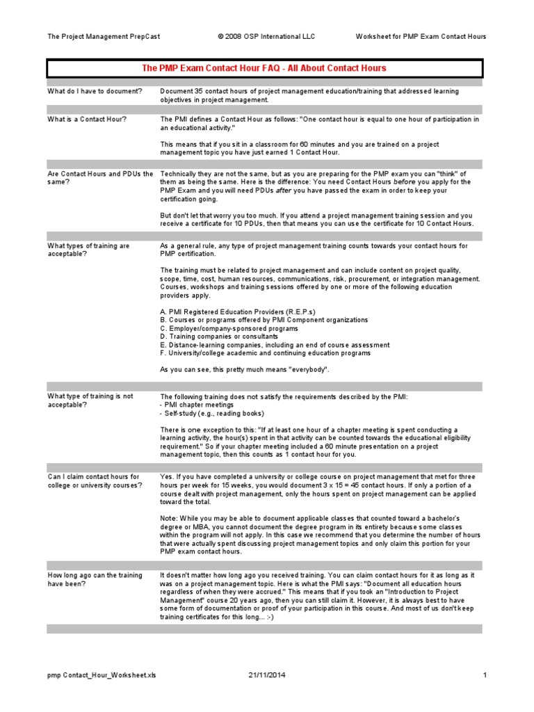 Pmp Contact Hour Worksheet Project Management Professional